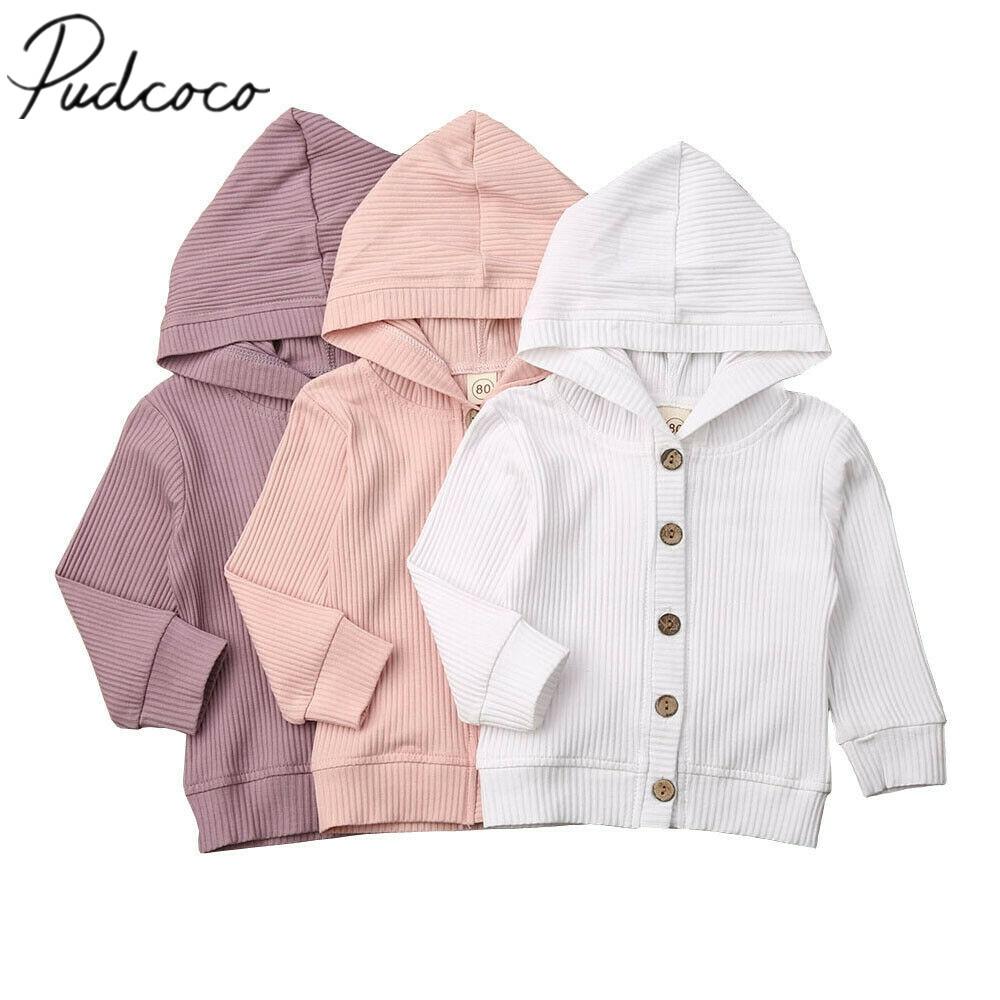 2019 bebê primavera outono roupas infantis roupas da menina do bebê manga longa casaco de malha outwear sólido com nervuras tops jaquetas