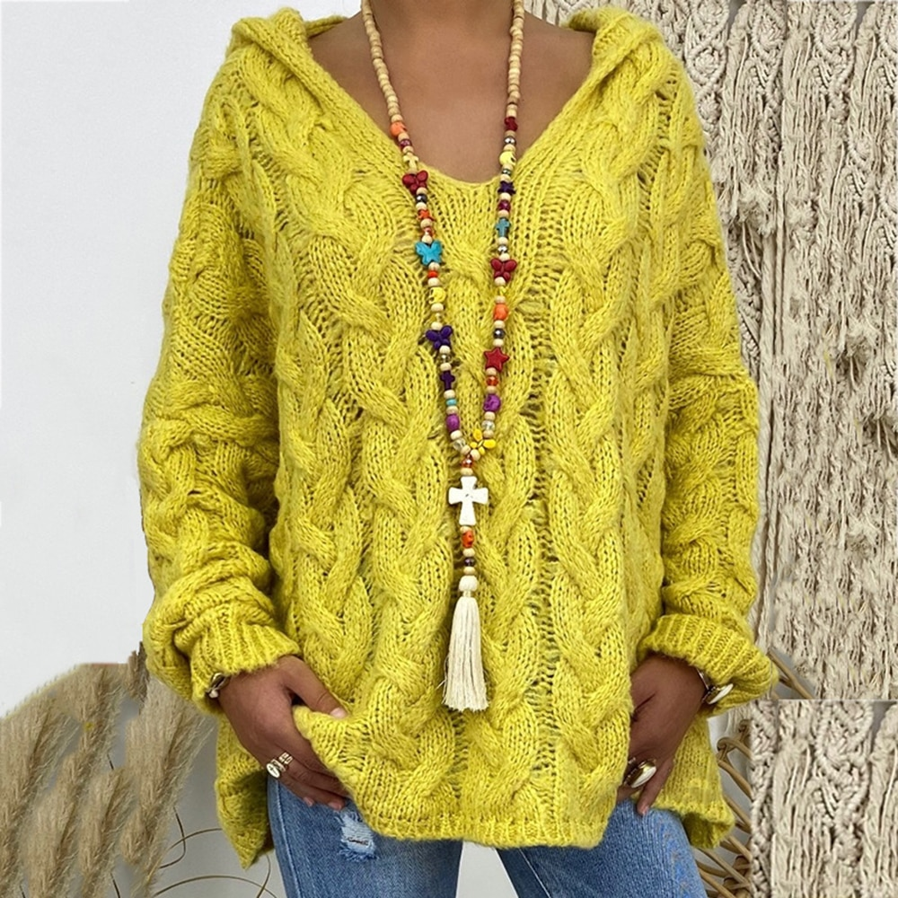 Sexy Deep V-neck Twist Knitted Sweaters Women Solid Pullovers 2021 Autumn Winter Oversize Warm Tops enlarge
