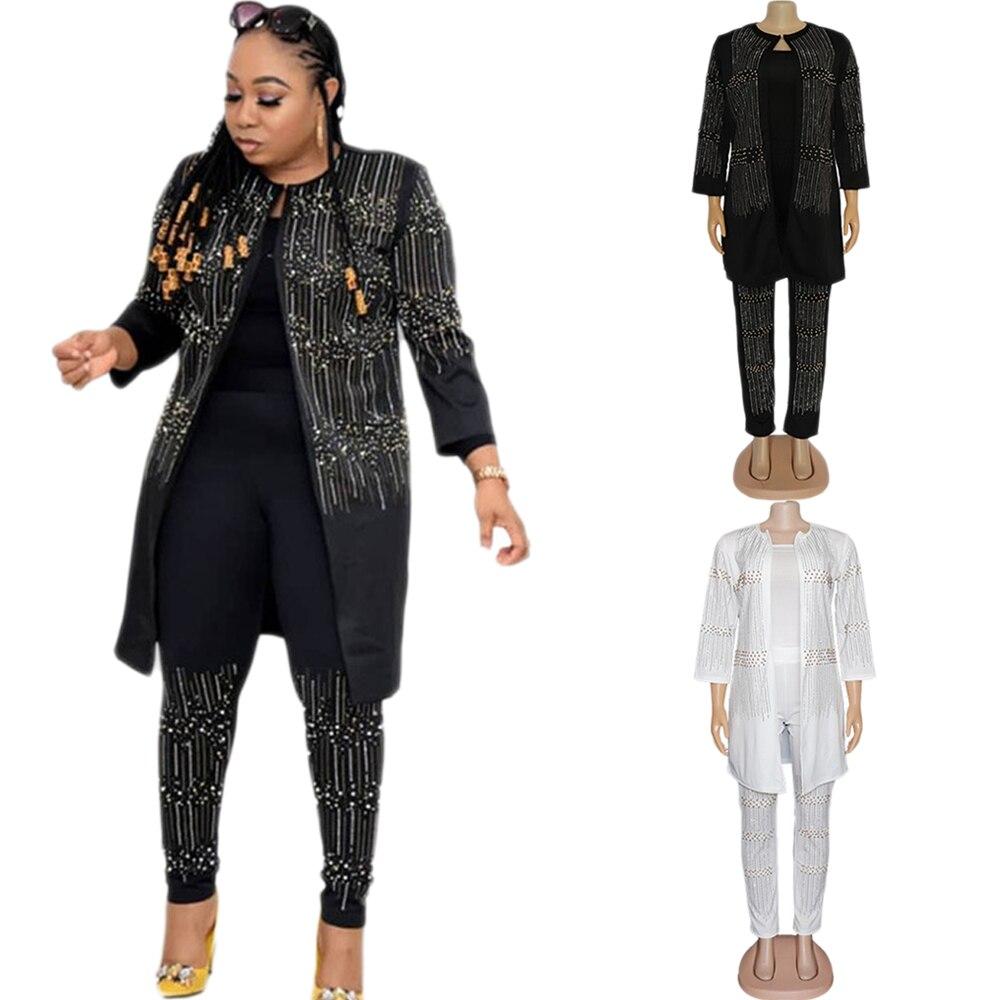 Conjunto de África Festa para as Mulheres Peças Roupas Dashiki Strass Africano Contas Terno Superior Jaquetas Calças Manga Longa Outfits 3