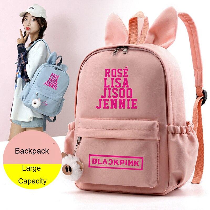 PT-B105 negro Rosa KPOP Orejas de conejo lindo negro Rosa paquete K-POP nueva marca de moda mochila bolsas