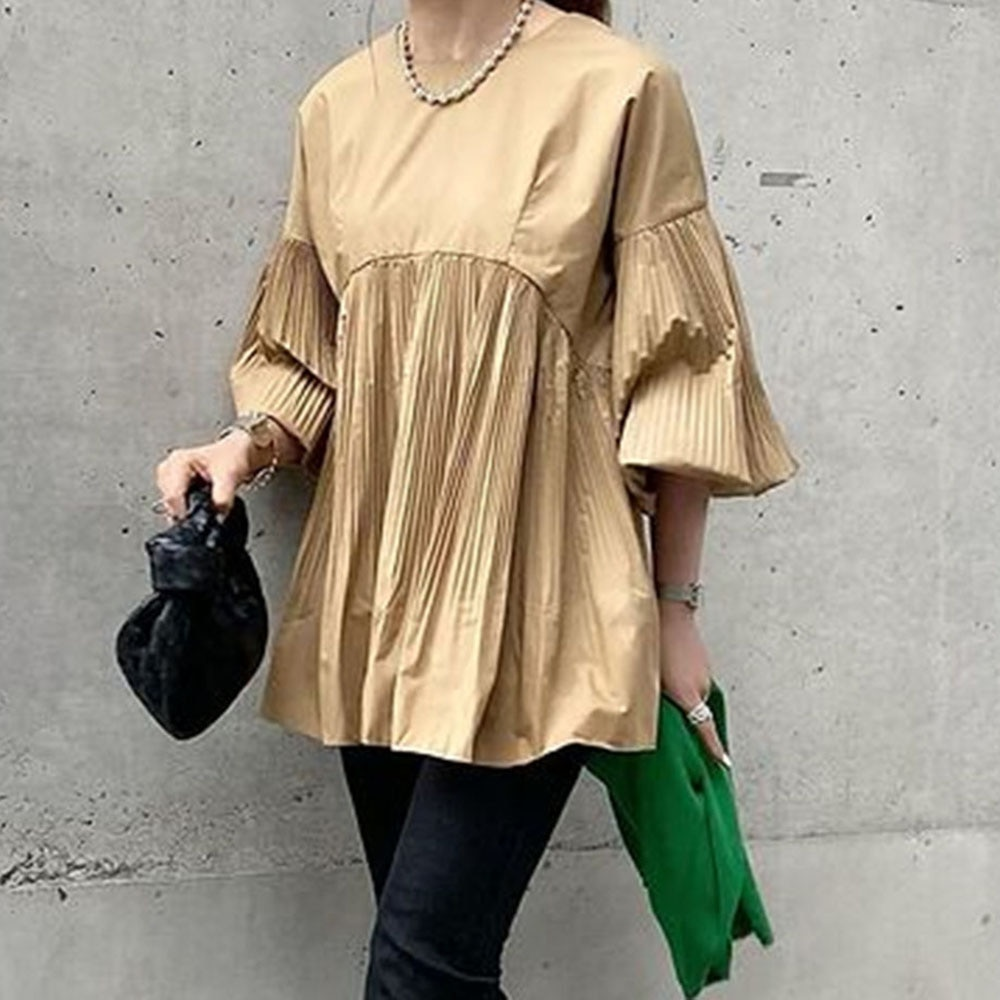 2021 Japanese Korean Women's Summer Crimping Solid Color Blouse Fashion Round Neck Flared Sleeves Lo