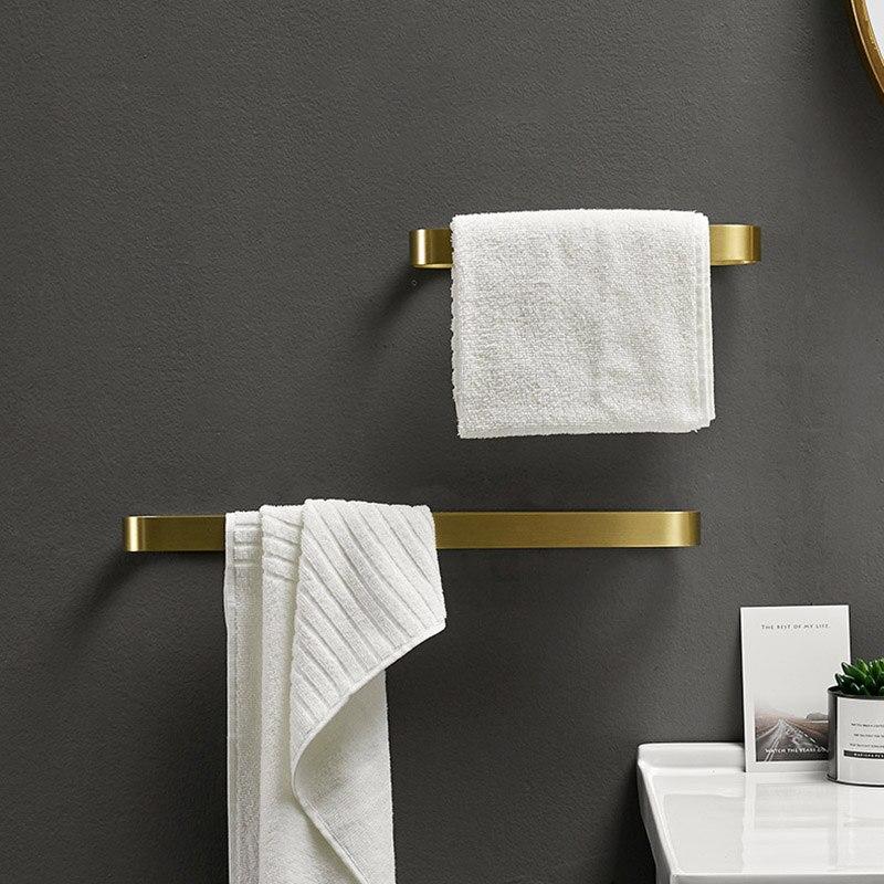 Toallero de aluminio para baño, Colgador montado en la pared, toallero de Oro pulido, estante de almacenamiento, accesorios modernos para Baño