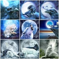 diy 5d diamond painting full drill wolf moon home decor mosaic embroidery animal fantasy stickers wall gift art decor