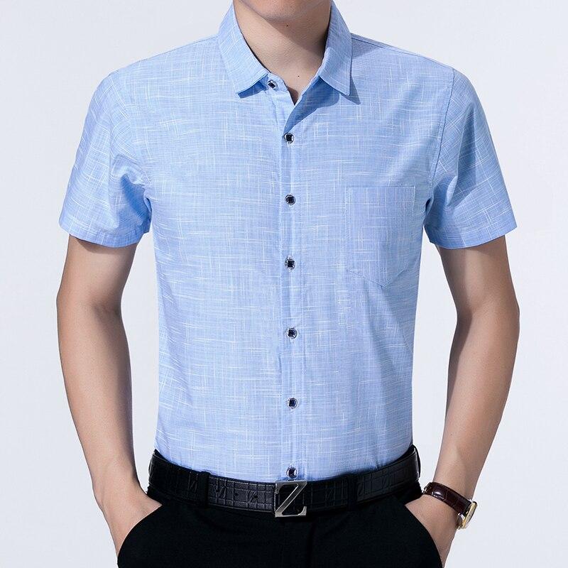 Camisas Casual de hombre Slim Fit sólido corto manga Turn-down Collar Single Breasted Camisa de algodón hombres ropa para el verano 2020