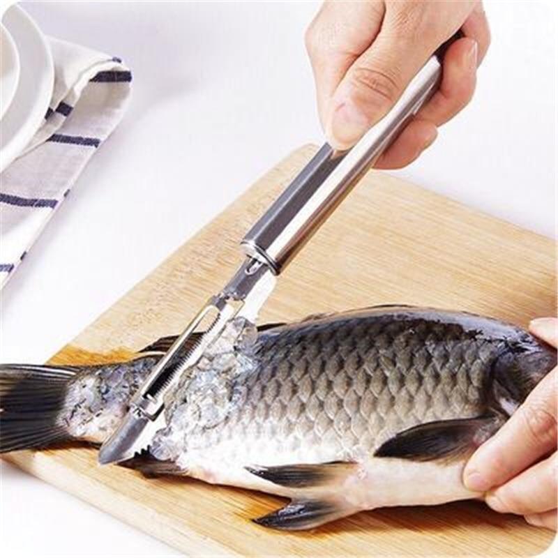 Accesorios de cocina de acero inoxidable, raspado de escamas, pelador para limpieza...