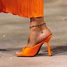 2021 Women Sandals Slippers Fashion Peep Toe Stiletto Slides Solid Color Fold High Heels Summer Shoe
