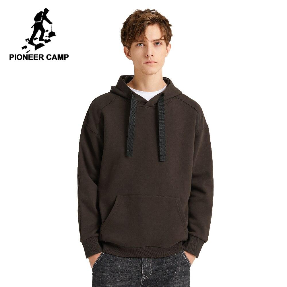 Pioneer Camp Multicolor sólido Hoodies hombres Streetwear con capucha 100% de algodón negro marrón Amarillo Blanco sudadera Causal hombres AWY908094