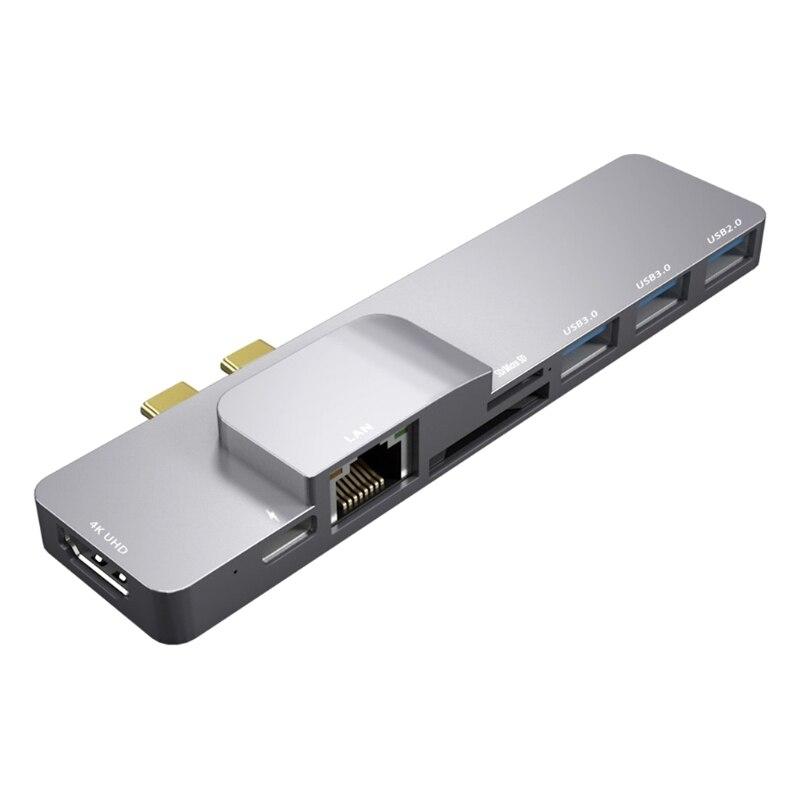 8 in1 نوع C محور محطة الإرساء HDMI متوافق Rj45 بطاقة الشبكة USB3.0 8 منافذ المزدوج Type-C 3.1 Thunderbolt 3 HDD SSD