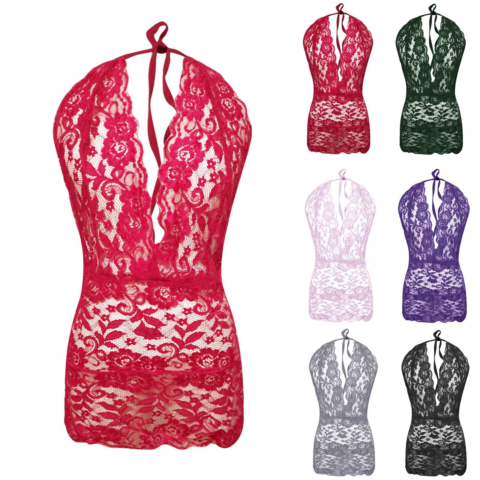 Halter Perspective Sexy Bodysuit Women Lace Hollow Out Sexy Lingerie Deep V Neck Backless Bodysuits Jumpsuits Bodys Top Mujer