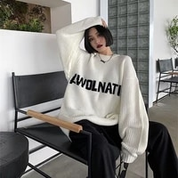 preppy style sweater women autumn winter new o neck letter jacquard sweaters female streetwear loose all match knitted jackets