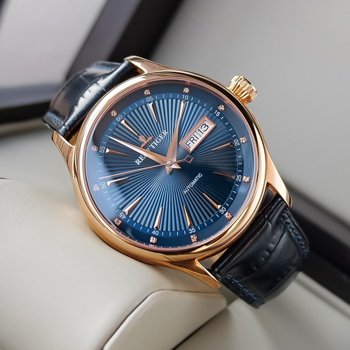 2021 جديد ريف النمر/RT فستان كلاسيكي العلامة التجارية الساعات مع تاريخ يوم الذهب الوردي ساعة أوتوماتيكية للرجال RGA8232