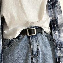 New ladies belt classic rectangular pin buckle fashion wild jeans girl belt genuine quality simple f