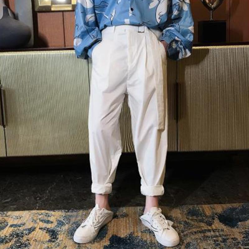 Men 2 Ways Wear Casual Pant Fashion Sashes Straight Harem Pants Male Women Street Wear Hip Hop Loose Side Leg Trousers Clothing