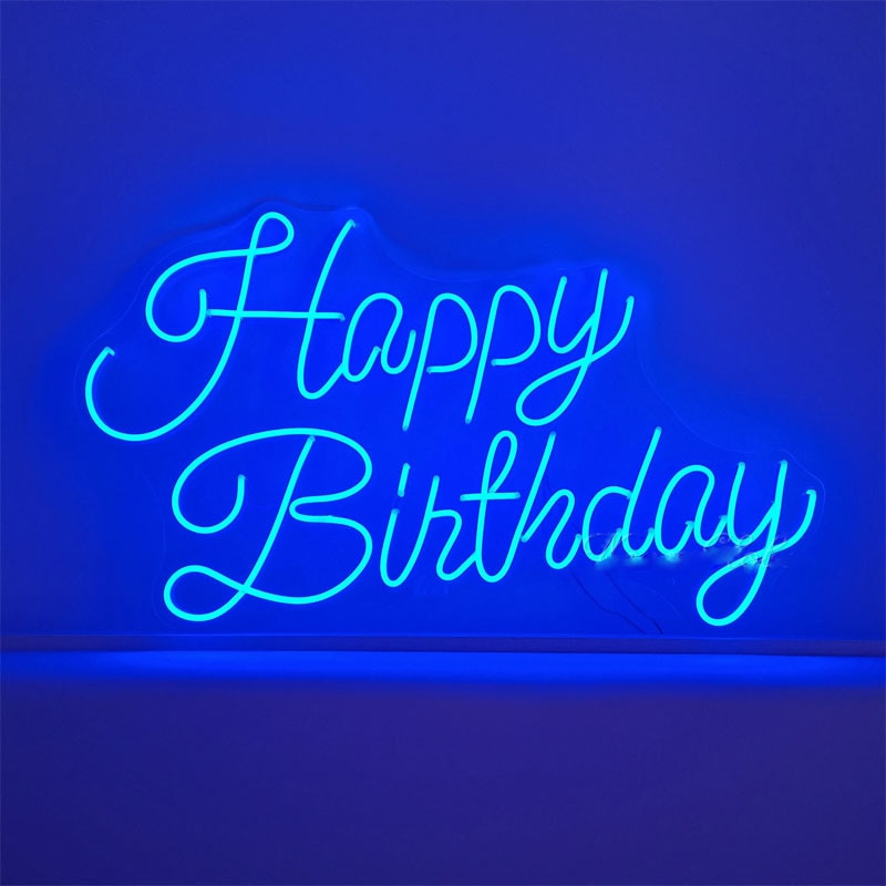 OHANEONK Custom  Neon Light Sign of Happy Birthday Lamp for Party Wall Art Letter Design Home Bar LED Light Personalized enlarge