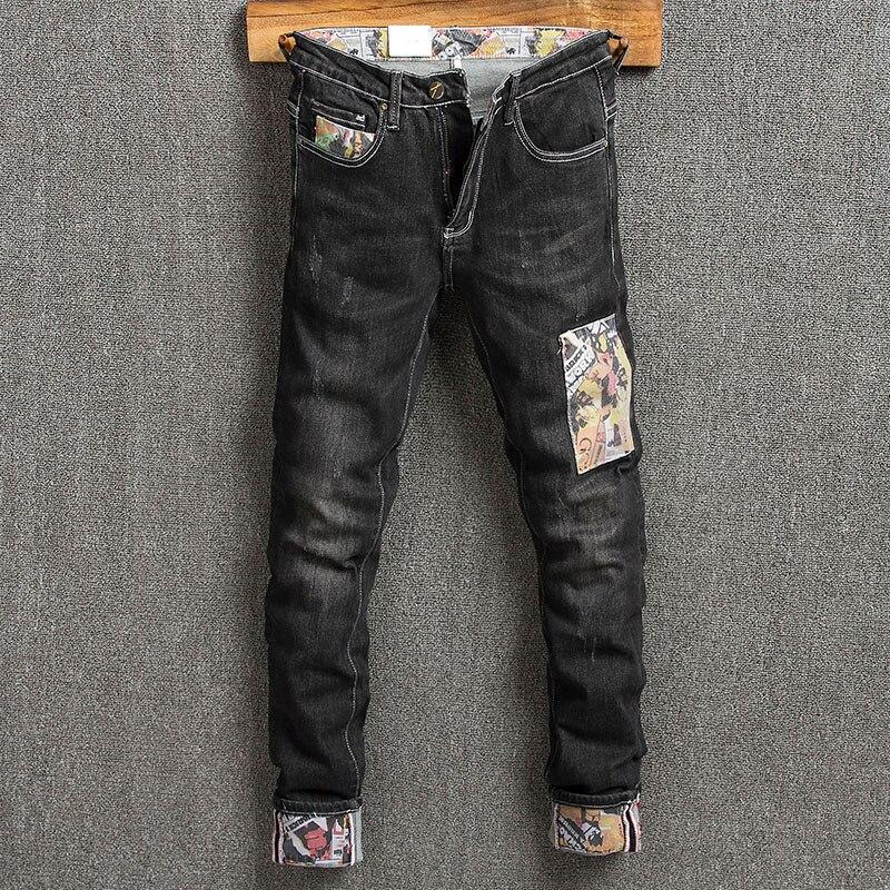 Модные мужские джинсы в Корейском стиле, черные эластичные узкие рваные джинсы в стиле ретро, мужские уличные дизайнерские Джинсовые брюки ...