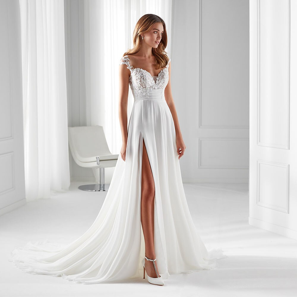 Sexy Side High Slit A Line Chiffon Bridal Dress Scoop Illusion Lace Button Back Cap Sleeve Beach Party Wedding Gown Sweep Train sexy summer beach wedding dress scoop cap sleeve side slit bridal dresses open back bohemian lace wedding dresses