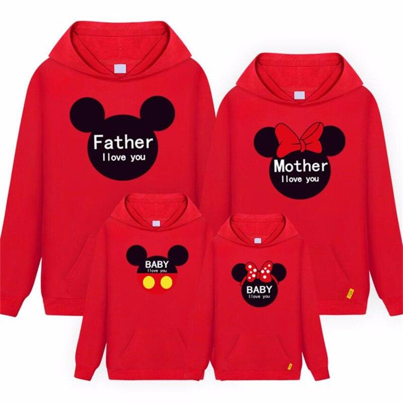 Bluza z kapturem tata i ja jesień matka córka chłopcy dziewczęta Mickey Minnie Mouse bawełniana koszulka Top dla rodziny pasujące ubrania
