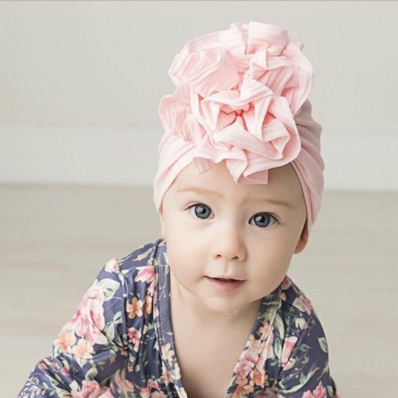 Nueva flor, sombrero de bebé para niñas, gorro de princesa de algodón para bebé, gorro elástico para bebé, sombreros de turbante para bebé, gorra para niña infantil de 20 colores