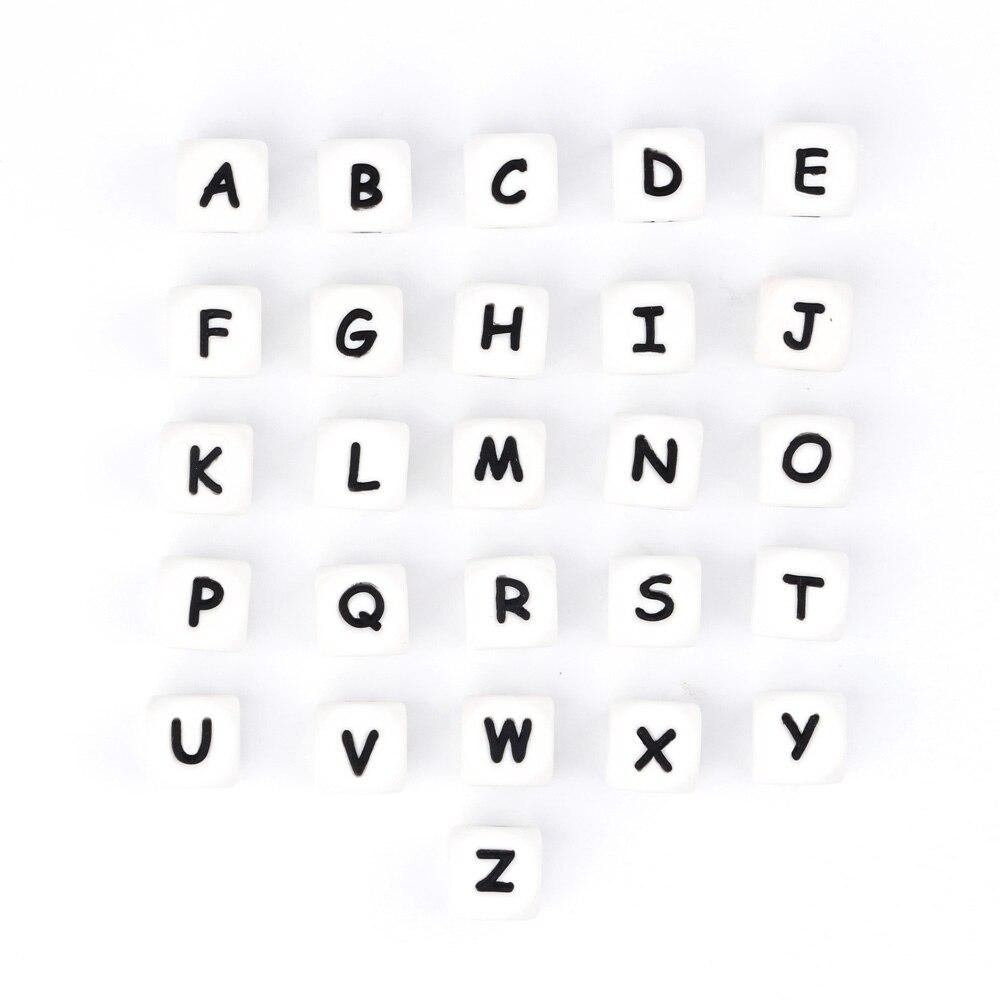 TYRY.HU-حلقات تسنين سيليكون مخصصة ، 1000 قطعة ، اسم DIY على سلسلة اللهاية ، خرز الأبجدية من السيليكون