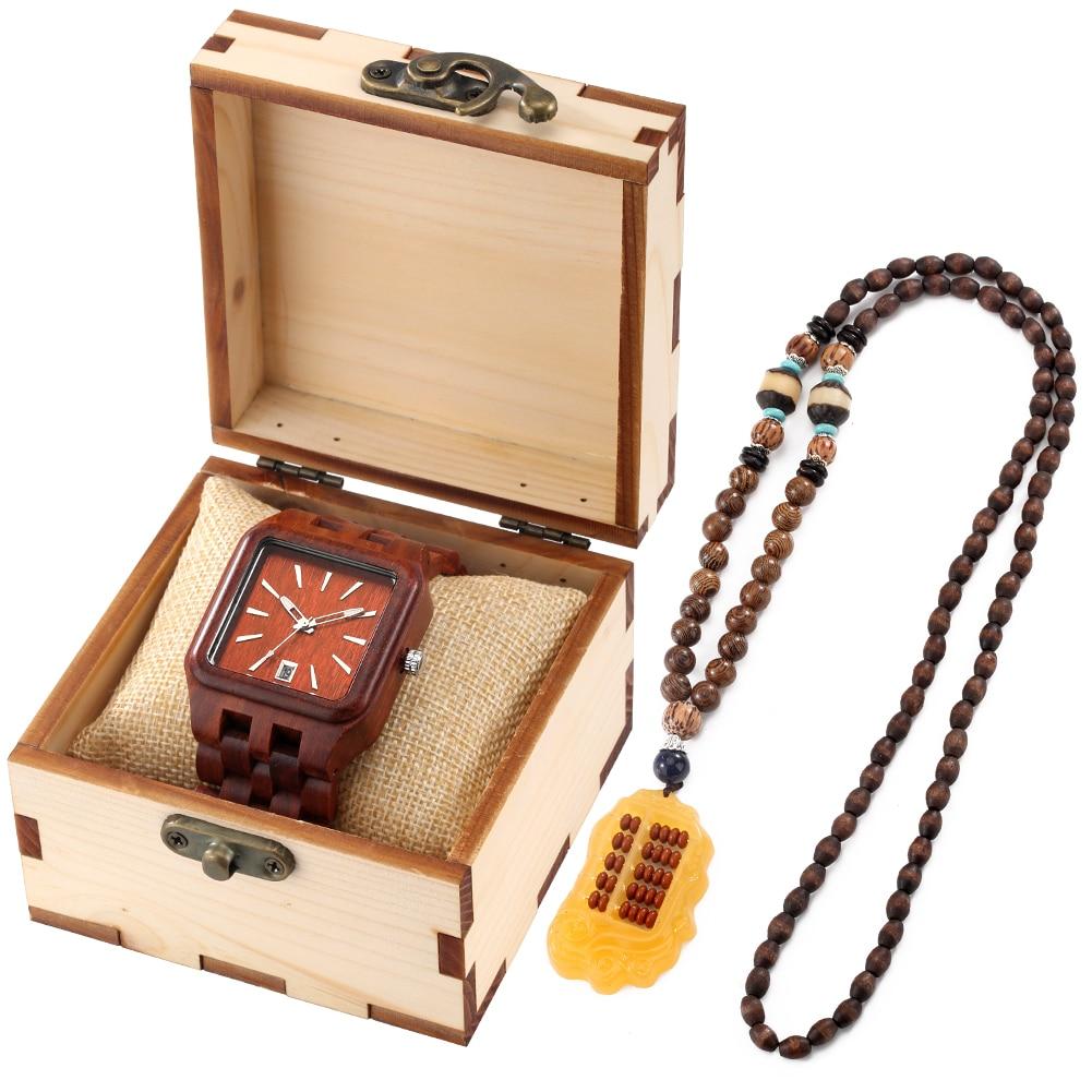 Винтажные часы Keller & Weber с календарем Мужские полностью деревянные кварцевые часы набор в подарочной коробке ожерелье из бисера Рождественс...