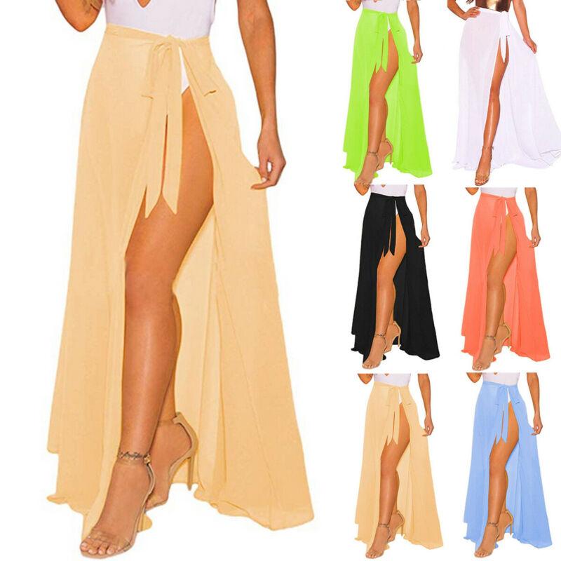 Vestido playero de Color liso para mujer, vestido playero de falda larga cruzada para playa y Pareo