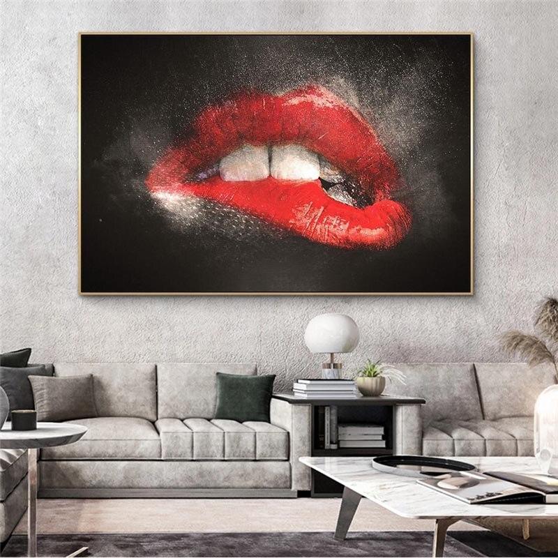 Abstracto lábios vermelhos sexy graffiti arte quadros em tela cartazes e impressões arte de rua lábios sensuais quadros em tela na parede
