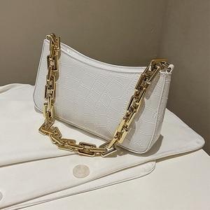Pattern Stone Pu Leather Aempit Bag for Women 2020 Solid Color Metal Chian Shoulder Handbags Female Travel Fashion Hand Bag