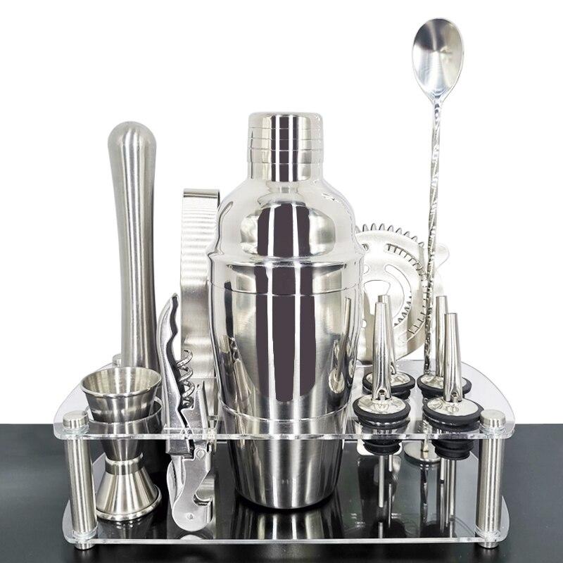 Juego de coctelera de 550/750ml, juego de barman, mezclador de Martini de acero inoxidable, mezclador, cuchara, jigger, 4 vertedores, folleto de recetas