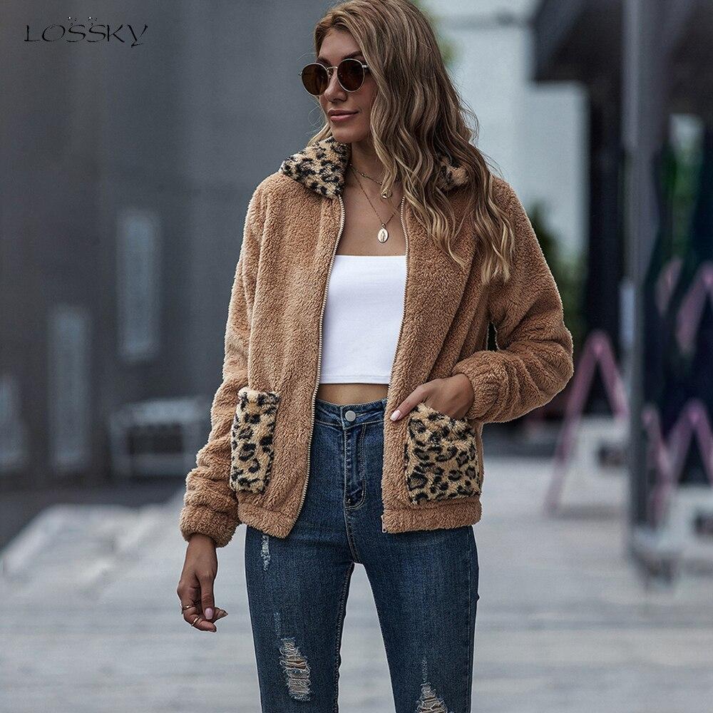 Chaqueta abrigo mujer Otoño Invierno piel sintética felpa Pastel ropa moda leopardo bolsillo cremallera Cardigan Outwear chaquetas otoño 2020