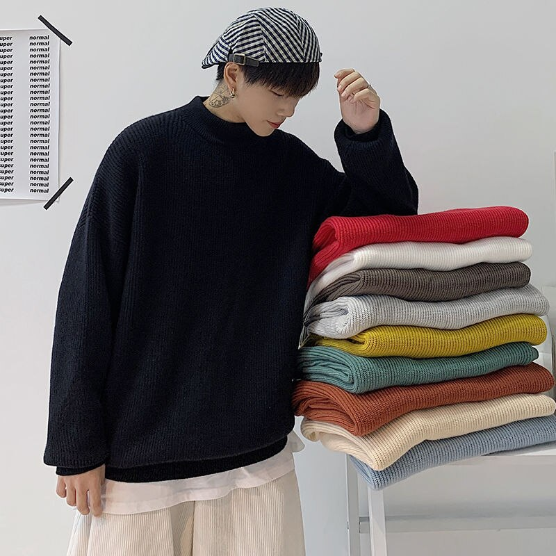 2020 Winter Men's Thick Coats Long Sleeve Half-turtleneck Clothes Woollen Pullover knitting 10 Color Cashmere Sweaters M-3XL