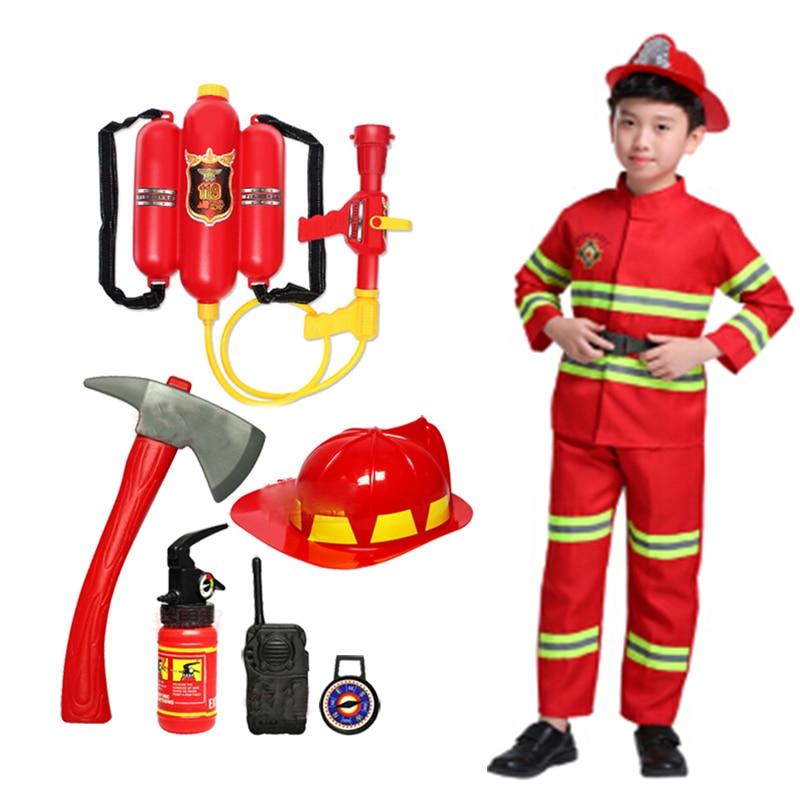 2021 Halloween Cosplay Kids Firefighter Uniform Children Sam Fireman Role Work Clothing Suit Boy Gir