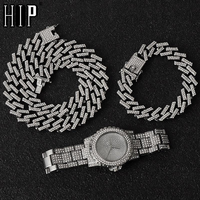 Hip Hop Necklace +Watch+Bracelet Bling Iced Out Miami Zircon Cuban Prong Pave Rhinestone Men Bracelet Necklace For Men Jewelry