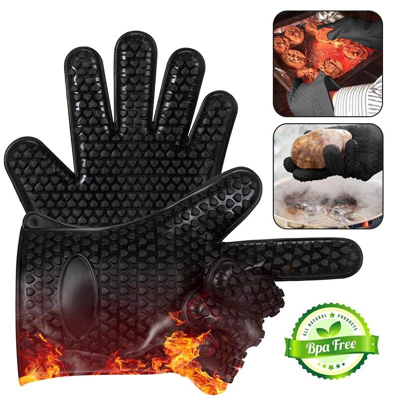 Еда Класс толстые термостойкие силиконовые перчатки для барбекю гриль перчатки Кухня барбекю печь кулинарные рукавицы выпечка, гриль перч...