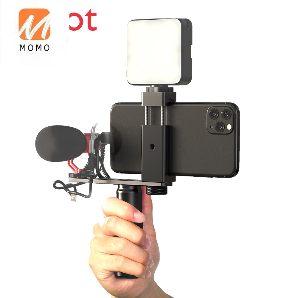 Phone Video Stabilizer Smartphone Video Rig, small camera rig with light and mic for equipment accessories ulanzi u rig pro phone video stabilizer grip tripod mount stand handheld smartphone video rig filmmaking case for iphone