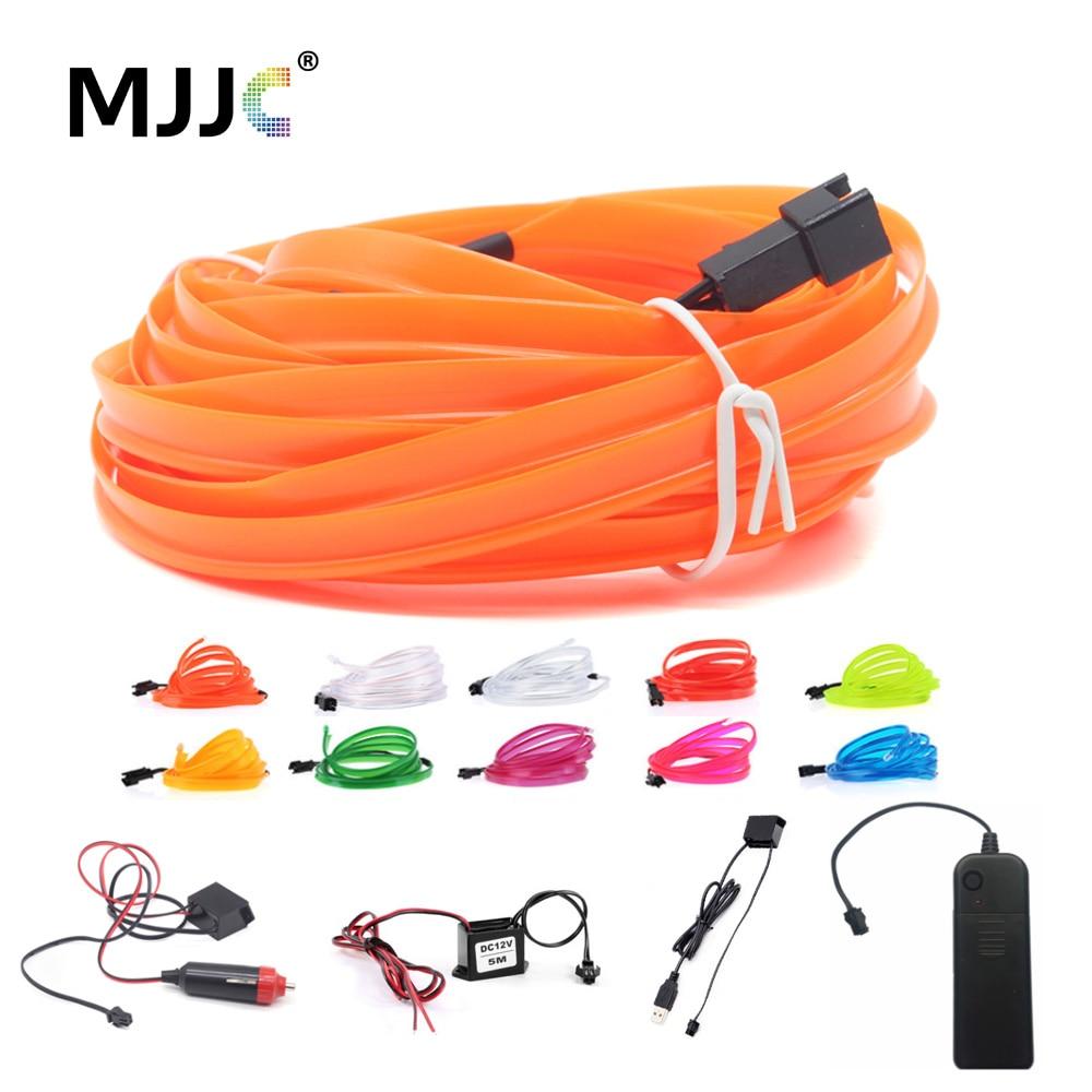 EL Wire Light 1M 2M 3M 5M LED Neon Light 3V 5V 12V EL Rope Tube LED Strip with Inverter for Car Danc