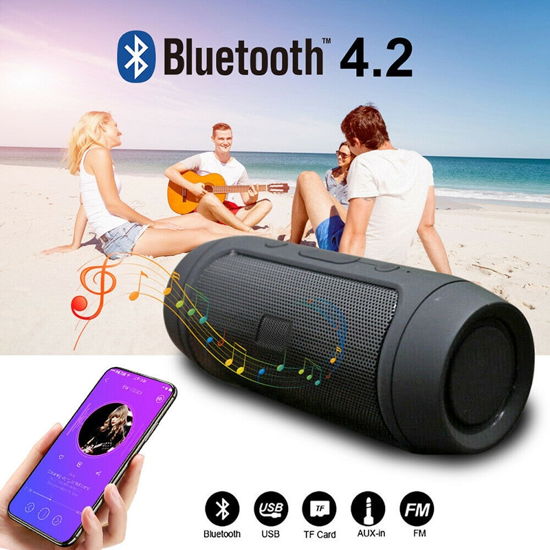 Altavoz portátil Bluetooth inalámbrico al aire libre impermeable estéreo bajo altavoz USB TF FM Radio música Subwoofer columna altavoces