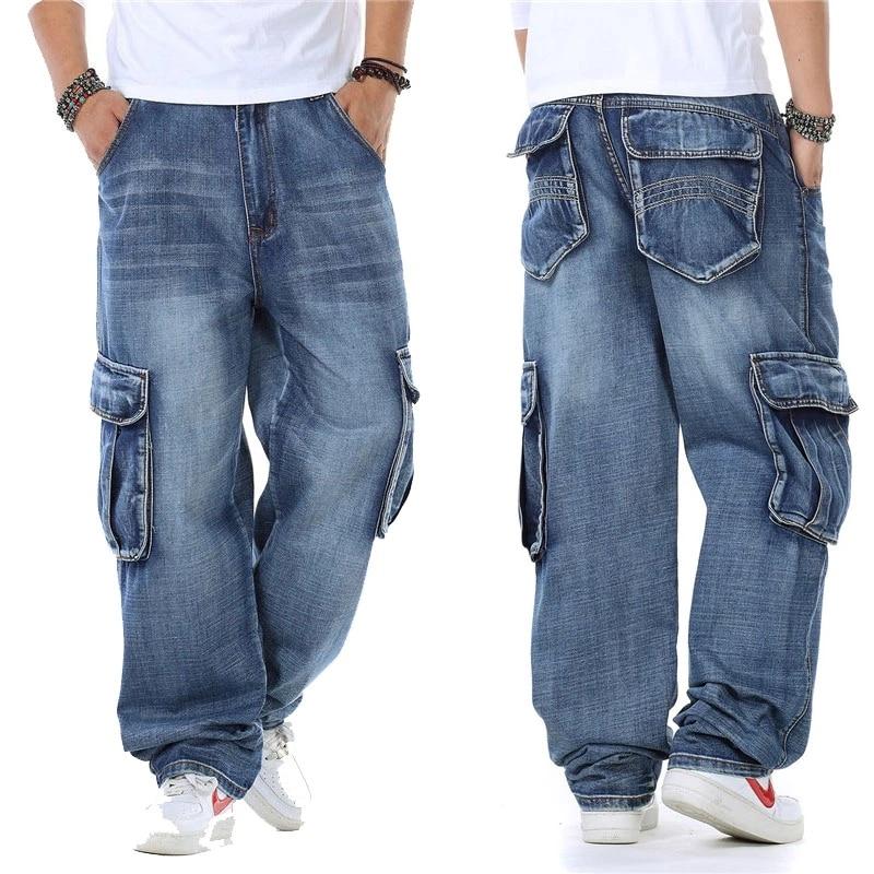 Джинсы-карго мужские прямые в японском стиле, байкерские джинсы-багги, свободные синие джинсы с боковыми карманами, 30-46, 2021