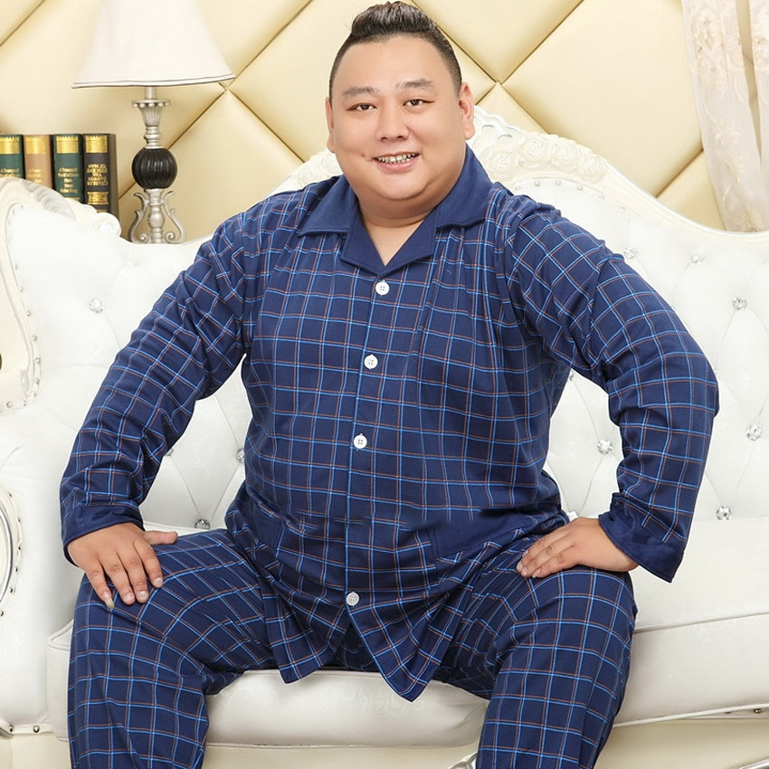 Cotton Fall/Winter Lapel Cardigan Long Sleeve Men's Pajamas 5XL Plus Size Fatty Homewear Set Style Comfortable Cozy Lounge