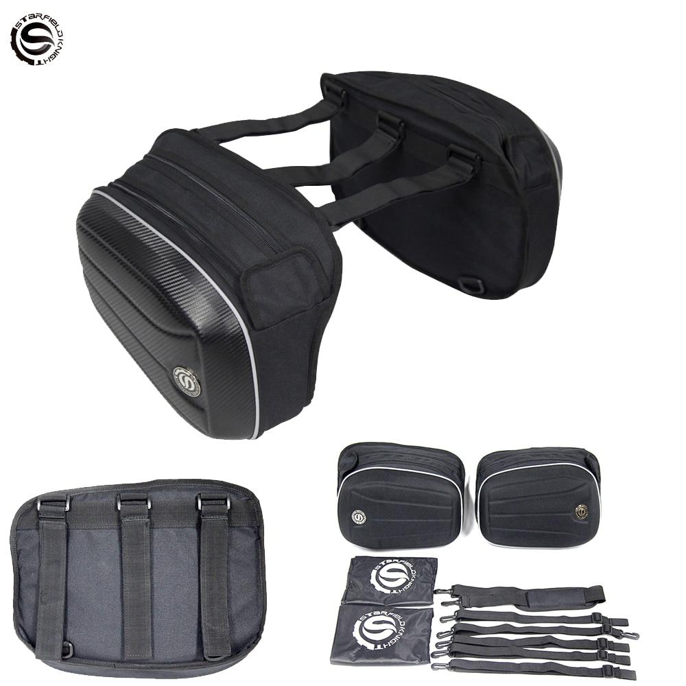 Bolsa de sillín con LOGO 3D de Star Field para motocicleta, alforjas, maletas, maletas, bolsa de asiento trasero para motocicleta, de carbono con cubierta resistente al agua