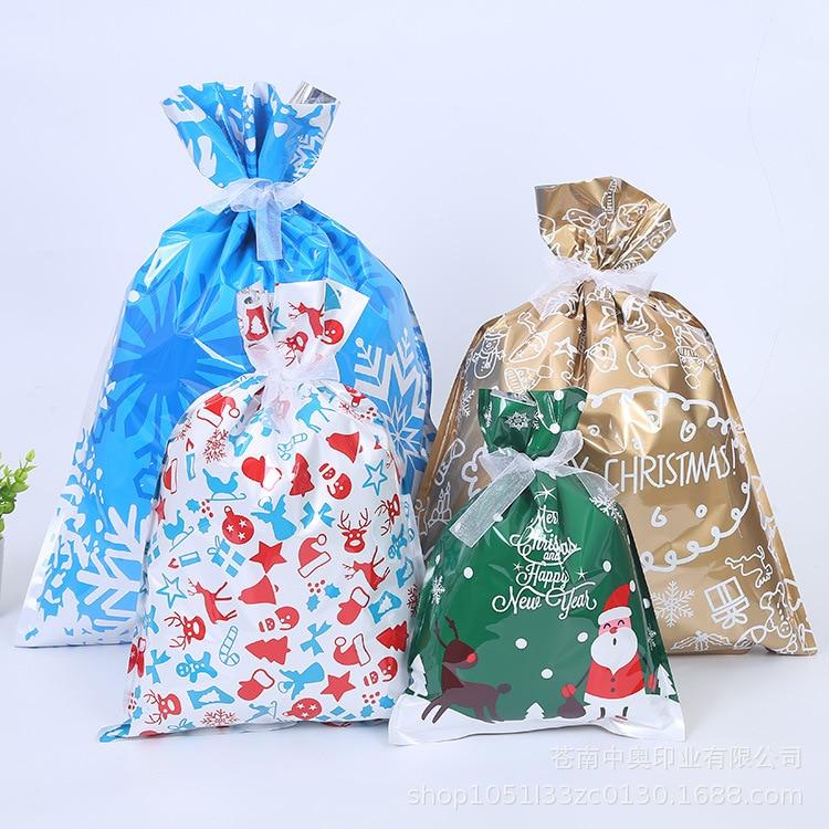 Saco de presente de natal saco de doces zakjes plástico ano novo navidad santa saco cadeau zakjes celofane sacos de plástico