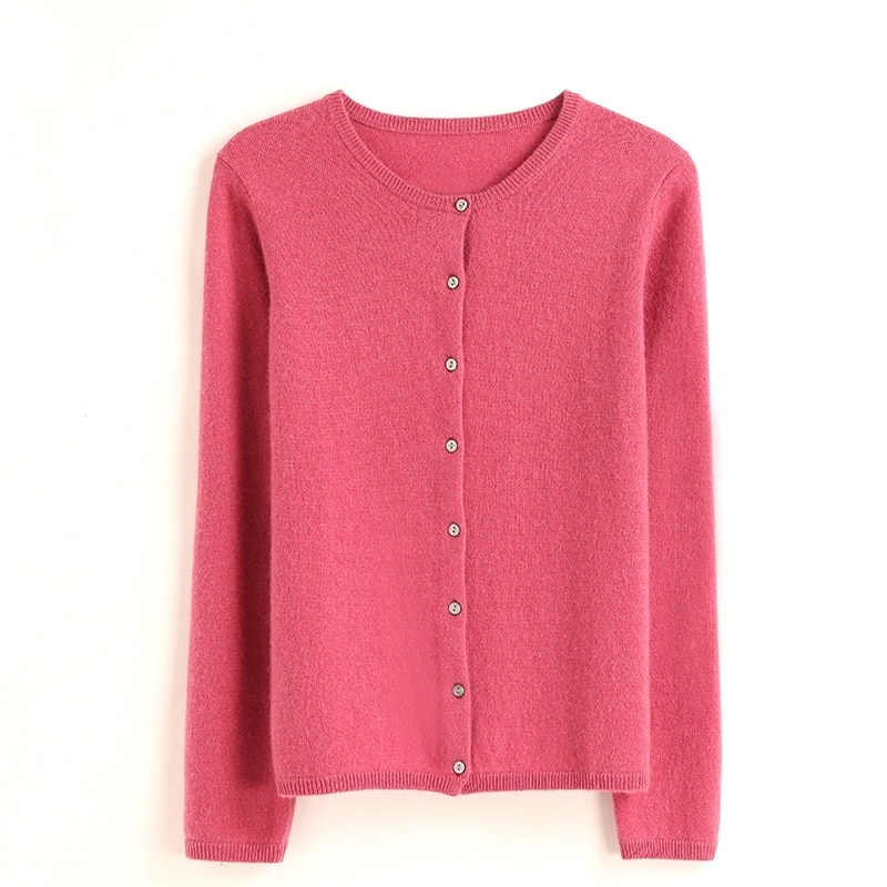 Women's cardigan 100% pure cashmere knitted sweater 6 colors soft and warm winter women's long sleeve knitted sweater enlarge