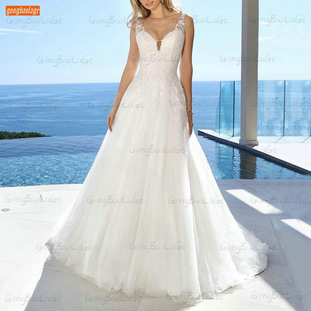 Romantic Boho Wedding Dresses White Slim Fit Vestido De Noiva 2021 Custom Made Bride Gowns Sleeveless Robe Mariage