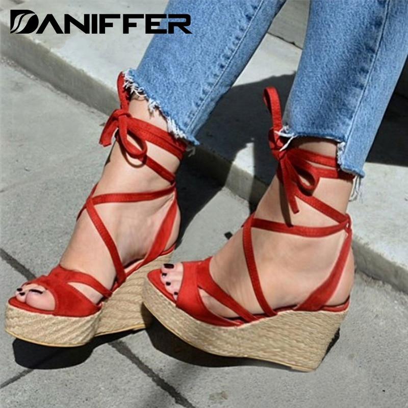 2020 Women Summer Wedge Sandals High Heels Platform Shoes Woman Gladiator sandalias Casual Pumps Bandage Cross-tied Strap