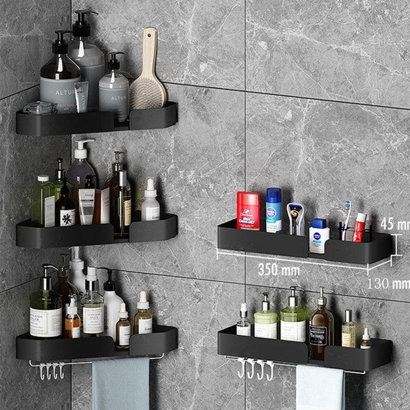 الحائط الزاوية منشفة حامل تخزين الرف بار مع هوك ملابس للحمام رفوف مربع سلة شماعات اكسسوارات المطبخ