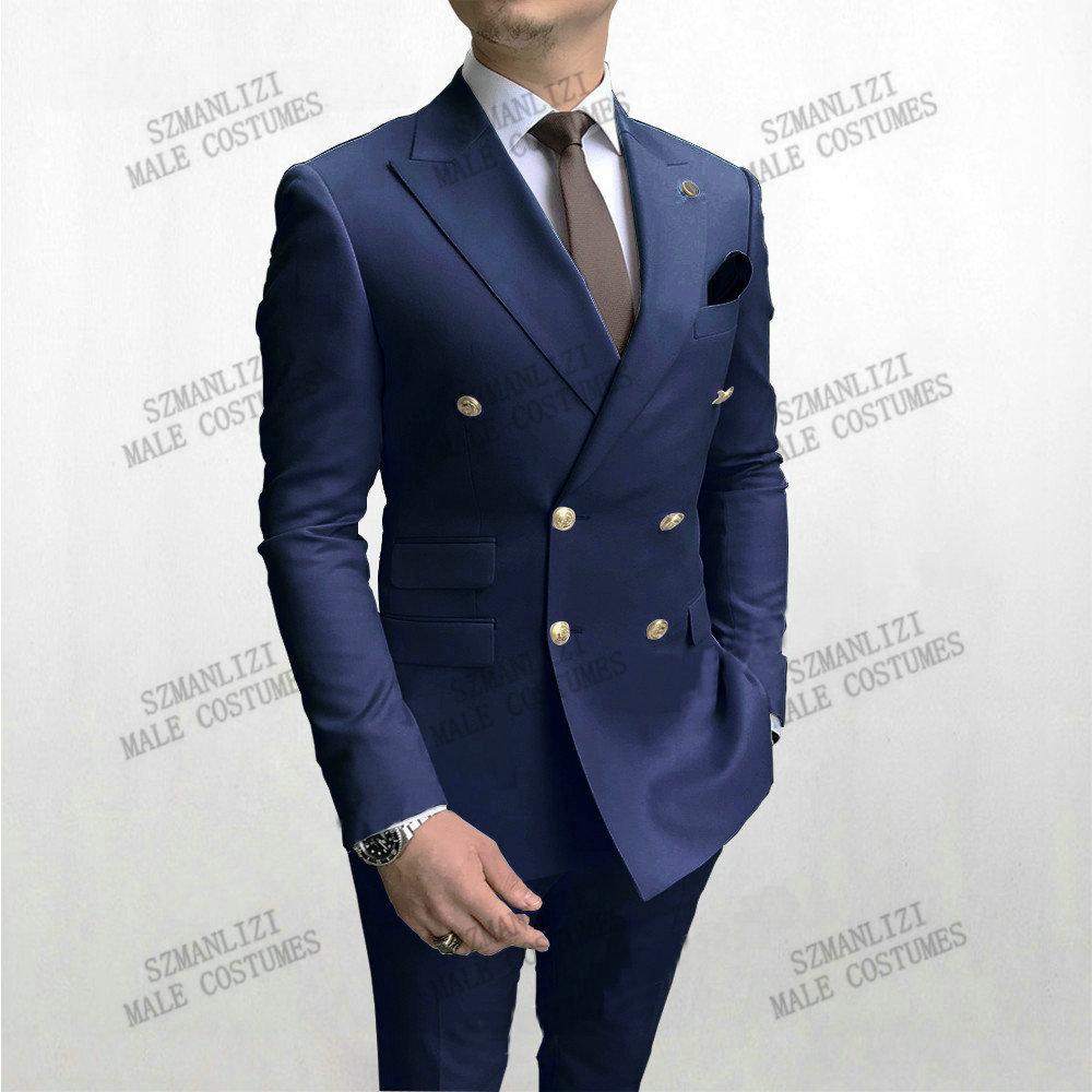 بدلة رجالية ضيقة باللون الأزرق الداكن بلغت ذروتها عند الصدر بدلة مناسبة لحفلات الزفاف من Terno Masculino سترة (جاكيت + بنطلون)