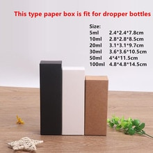 100pcs - 10ml/20ml/30ml/50ml/100ml  Blank White Black Kraft Paper Box for Dropper Bottle Cosmetics Party Gift Boxes valve tubes