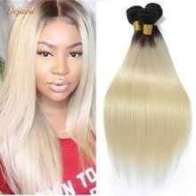 Dejavu 1B 613 Ombre Blonde Brazilian Straight Hair Bundles 2 Tone Dark Roots Platinum Remy Human Hai