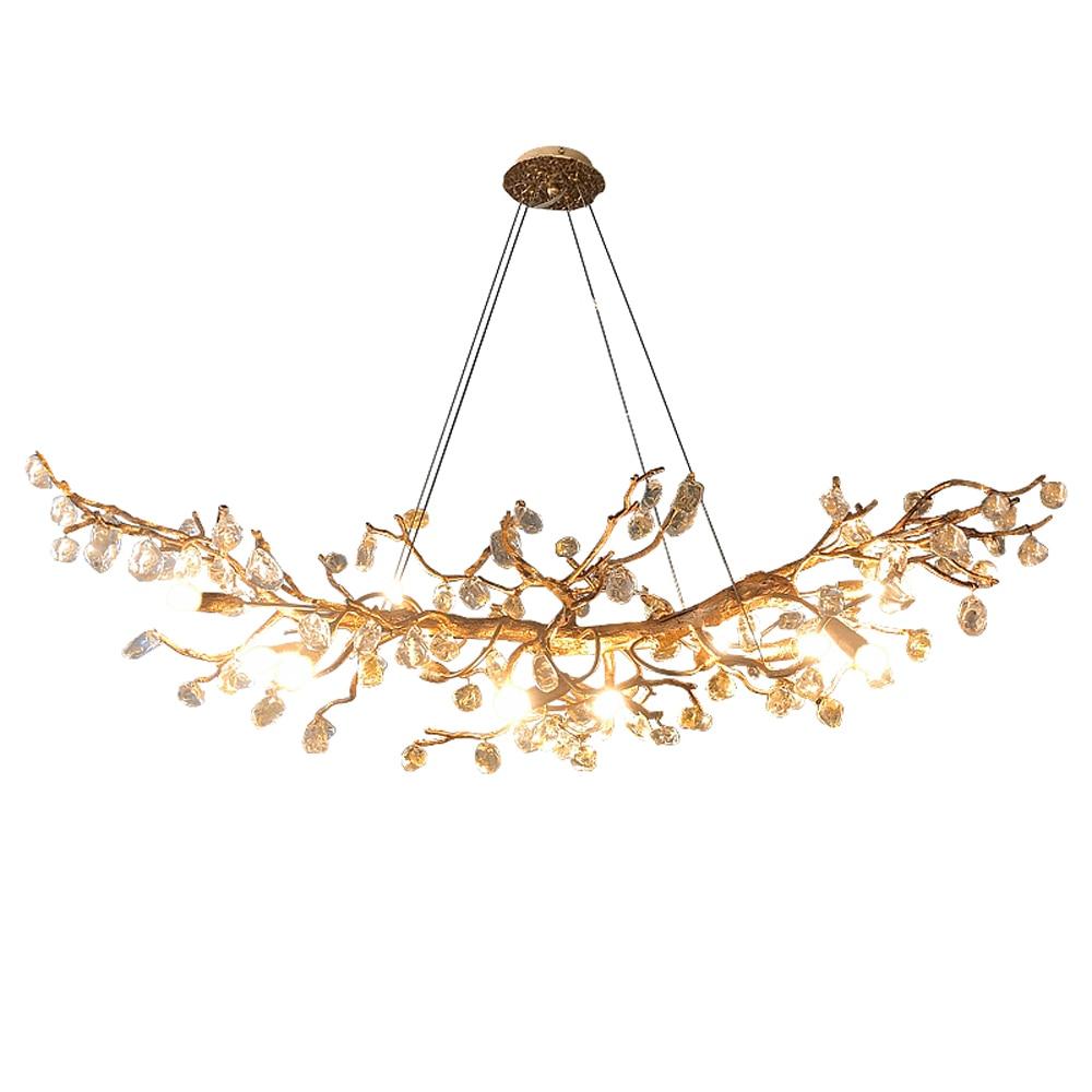 فن التصميم ثرية من النحاس الحديثة الكريستال حجر Plafondlamp المعيشة الديكور Led غرفة الطعام تعليق الإنارة فيلا أضواء