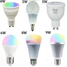 Mi lumière Dimmable GU10 E27 E14 Led ampoule lampe 4W 5W 6W 9W MiLight 2.4G sans fil lumières 85-265V RGBW RGBWW CCT gradateur lampe