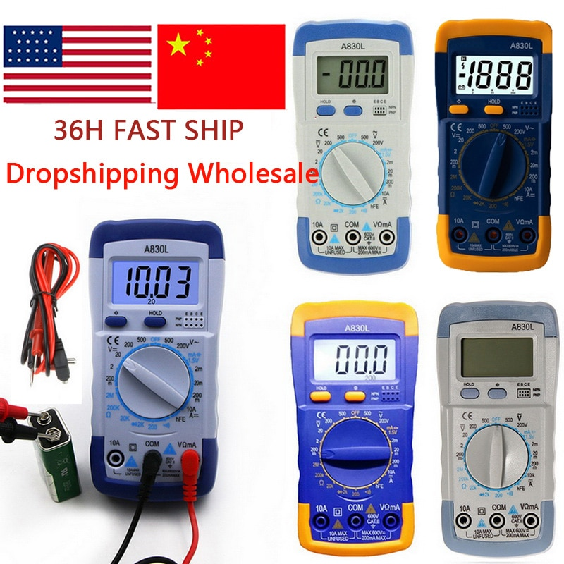 Handheld Multímetro Digital Backlight LCD Portátil AC/DC Amperímetro Voltímetro Ohm Tester Medidor de Tensão Medição de Multimetro